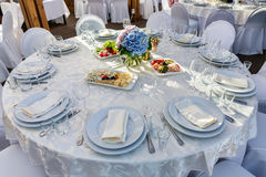 Rund tabell för bankett för gäster Royaltyfri Foto