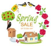Rund trädgård för Sale vårram arkivbilder
