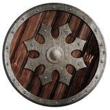 Rund träsköld med isolerade illustrationen 3d för metall den stjärna arkivbilder