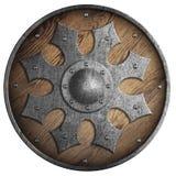 Rund träsköld med metallstjärnan i den mitt isolerade illustrationen 3d arkivfoto