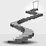 Rund trappa som leder till dörröverkanten Arkivfoton