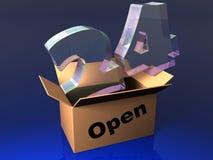 Rund um die Uhr geöffneter Kasten mit Stempel lizenzfreie abbildung