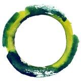 Rund vattenfärgram, cirkelformform som isoleras på vit bakgrund Handgjord teknik Royaltyfria Foton