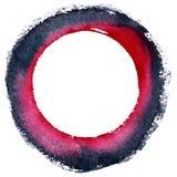 Rund vattenfärgram, cirkelformform som isoleras på vit bakgrund Handgjord teknik Arkivbilder