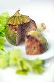 rund välfylld zucchini för meat Royaltyfri Bild