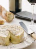 Rund vom Camembertkäse mit französischem Steuerknüppel Lizenzfreie Stockfotografie