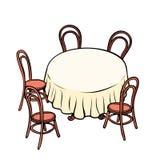 Runda äta middag tabell och stolar omkring vektor illustrationer