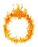 Runda av den ljusa orange flamman som isoleras på vit Royaltyfri Fotografi