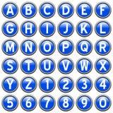runda blåa knappar för alfabet Arkivfoton