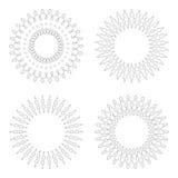 Runda designmallar Runda dekorativa modeller Uppsättning av den idérika mandalaen som isoleras på vit Arkivbilder