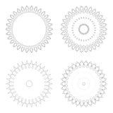 Runda designmallar Runda dekorativa modeller Uppsättning av den idérika mandalaen som isoleras på vit Royaltyfria Foton