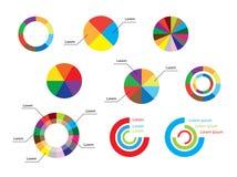 Runda diagram för färg - uppsättning av infographic stock illustrationer