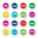 Runda färgrika symboler för mustasch eller för mustasch Fotografering för Bildbyråer