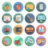 Runda för lägenhet för uppsättning för symboler för datorsäkerhet Royaltyfria Bilder