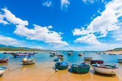 Runda fiskebåtar vid kusten, Vietnam arkivbilder