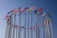 runda flaggor Arkivbilder