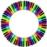 Runda färgad ram för pianotangentbord Royaltyfria Bilder