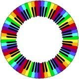 Runda färgad ram för pianotangentbord Arkivfoto