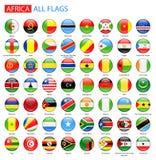 Runda glansiga flaggor av Afrika - full vektorsamling royaltyfri illustrationer