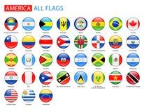 Runda glansiga flaggor av Amerika - full vektorsamling stock illustrationer