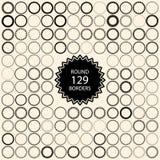 129 runda gränser för tappning Ställ in med cirkelramar Royaltyfri Bild