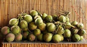 Runda gröna kokosnötter Arkivfoton