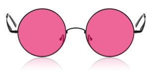 Runda hippy exponeringsglas med den rosa linsen Royaltyfri Foto