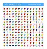 Runda krullade hörnvärldsflaggor royaltyfri illustrationer