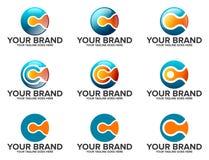 Runda LogoSet för BOKSTAV C Royaltyfri Bild