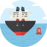 Runda med det kulöra lastfartyget, logistiksymbol Arkivfoto