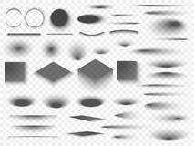 Runda och fyrkant isolerade genomskinliga skuggor för golv Mörk oval skugga- och cirkelskuggavektor vektor illustrationer