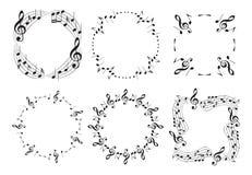 Runda och krabba musikramar med anmärkningar - härlig vektoruppsättning stock illustrationer