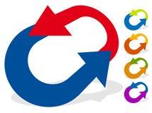 Runda pilar för ändring, nollställning, swap, vänd, utbytesbegrepp stock illustrationer