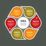 Runda pilar för infographics Diagrammet grafen, diagram med 6 moment, alternativ, särar Vektoraffärsmall Arkivbild