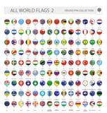 Runda Pin Icons allra världsflaggor Del 2 stock illustrationer
