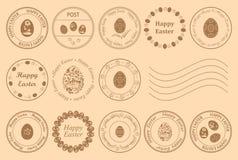 Runda portostämplar med dekorativa ägg för easter ferie - vektordesignbeståndsdelar royaltyfri illustrationer