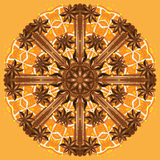 Runda prydnad, kanel och apelsiner för vektor Royaltyfri Bild