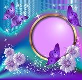 Runda ram, blommor och fjärilar Arkivbild