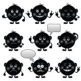 Runda Smilies, set som är svart Stock Illustrationer