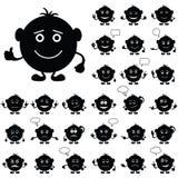 Runda Smilies, set som är svart Arkivbild