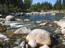 Runda stenar i en slingrig flod Royaltyfria Foton