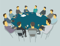 Runda stora tabellsamtal Lagaffärsfolk som möter konferensen många personer Royaltyfri Bild