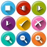 Runda symboler med de olika knapparna Royaltyfri Bild