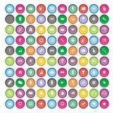 100 runda symbolsuppsättningar Arkivfoto