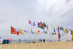 Runda Texel sponsorflaggor Fotografering för Bildbyråer