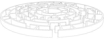 Runda tilltrasslad labyrint vektor Royaltyfri Foto