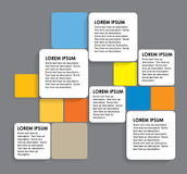 Rundade färgrika pappersfyrkanter - infographic baner vektor illustrationer