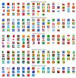 Rundade fyrkantiga vektornationsflaggasymboler Arkivbilder