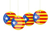 Rundaflaggor av Catalonia Stock Illustrationer
