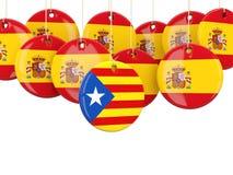 Rundaflaggor av Spanien och Catalonia Arkivbilder